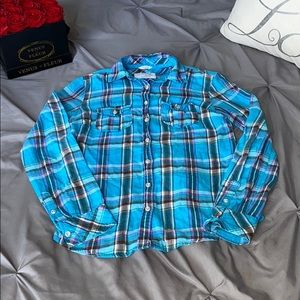 Aeropostale Signature Blue Plaid Flannel